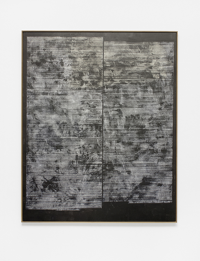 Alexandra Hopf, Board #16, 2015, acrylic, gouache on carbon copy paper, mounted on acrylic board, 160 x 130 cm, framed