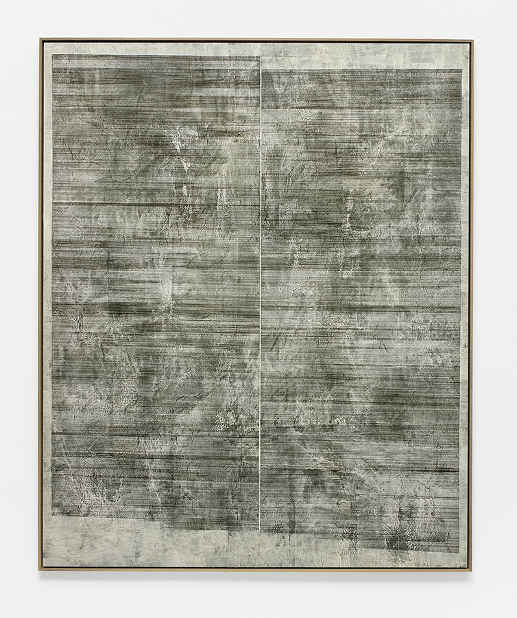 Alexandra Hopf, Board #18, 2015, acrylic, gouache on carbon copy paper, mounted on acrylic board, 160 x 130 cm, framed